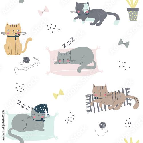 fototapeta na ścianę Seamless childish pattern with cats