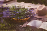 Lavender flower and book
