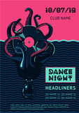 Poster template with octopus and vinyl record. Night party vector background. Summer dance music festival. - 249692581