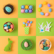 Easter holiday concept with easter eggs and bunny decorations.