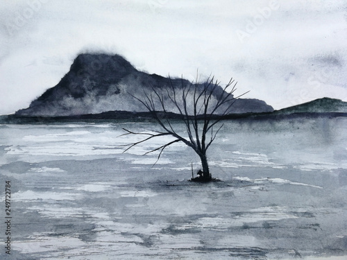 watercolor asia ink landscape mountain the man rest against under dead tree © atichat