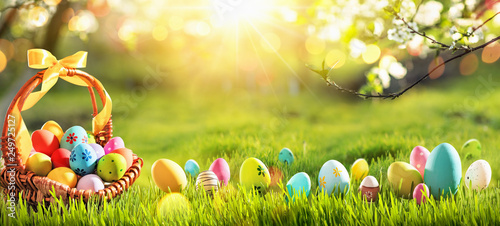 Easter Eggs in a Basket on Green Grass and Sunny Spring Background © Maksim Pasko