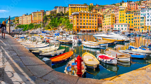 italian riviera horizontal camogli colorful village italy south europe town