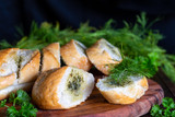 Fresh herb baguette with dill and parsley