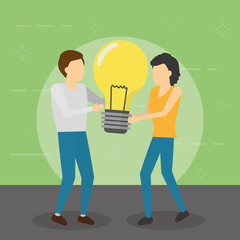 man and woman holding bulb creativity