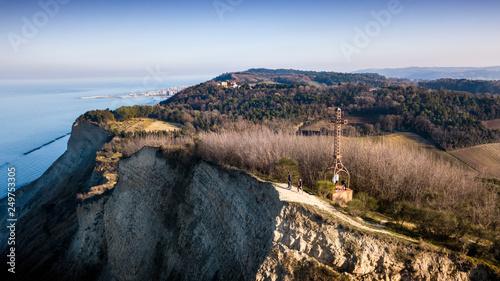 Italia,  Pesaro - croce di ferro posta sul monte san bartolo tra falesia e mare