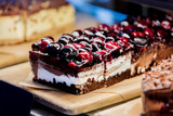 Side view at chocolate-cherry cake i