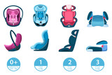 Child, infant and newborn baby car seats. Vector isolated cartoon icons. Safety automobile travel concept