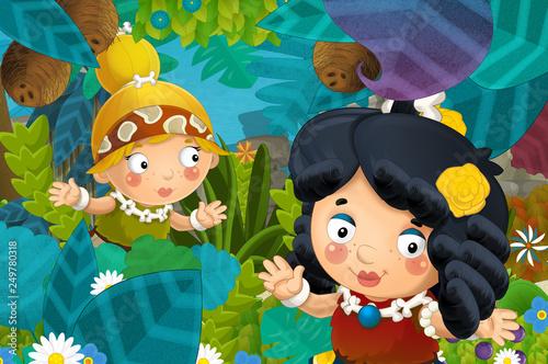 cartoon scene with caveman barbarian warrior woman in the jungle illustration for children - 249780318