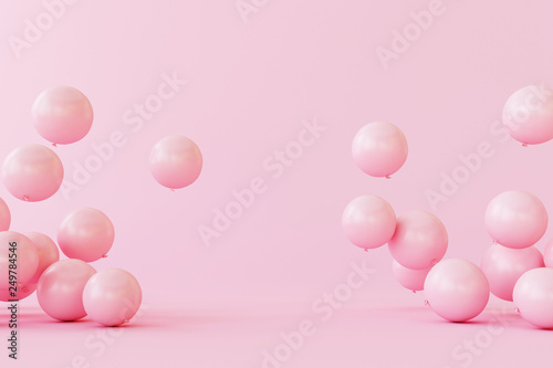 Balloons on pastel pink background. 3d rendering © aanbetta
