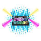 Tecno music label with dj turntable. Vector illustration design