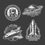 Fototapeta Kosmos - Vintage space exploration emblems set © imogi