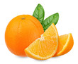 Fresh orange isolated on white clipping path