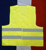 yellow vest on blue white red background