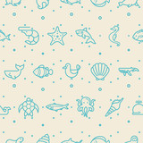 Under the sea seamless pattern vector. shark, various of fishes, Nautical Creatures, sea horse, turtle And Other Elements.