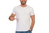 Smiling Man Pointing At His Blank White T-Shirt - 249821930
