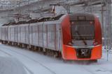 City train in the snow