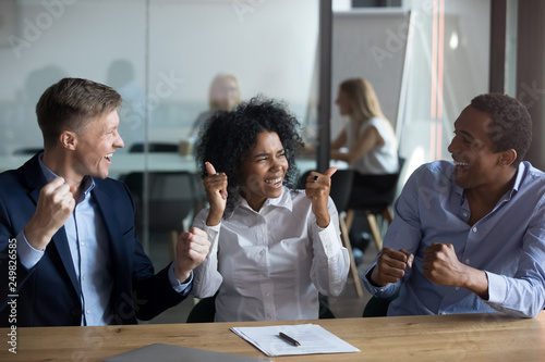 Businesspeople feels happy celebrating primacy on the market