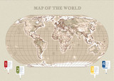 World Map Vector Vintage with relif