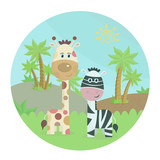 Zebra with giraffe in nature. Cartoon color vector illustration in a circle, landscape with animals palm trees and grass-Vector