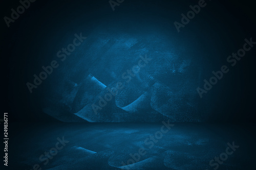 blue and dark gradient studio and interior background to present product