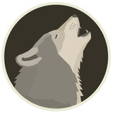 Wolf Forest WildLife Vector animals Geometric style Round frame