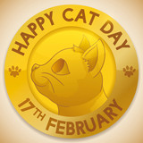 Golden Medal with Feline Face to Celebrate Cat Day, Vector Illustration