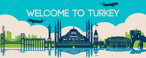famous landmark of Turkey,travel destination,silhouette design - 249857141