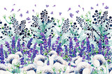 Gouache floral border with anemones, mint and lavender. Hand-drawn clipart for art work and weddind design.