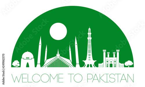 Pakistan famous landmark silhouette style, text within
