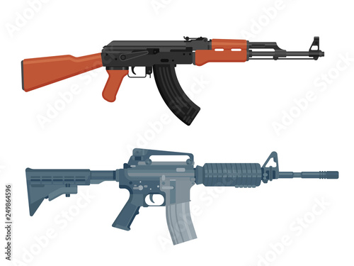 M16 assault rifle and AK 47 Kalashnikov machine gun isolated on white. Flat design. Vector illustration © mchlskhrv