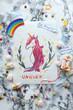 unicorn and rainbow. drawing. children's postcard