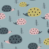Seamless pattern with hedgehogs.