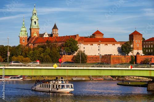 Wawel Castle at Vistula River in Poland