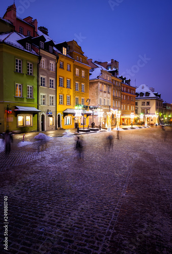 Old Town Houses in City of Warsaw at Night