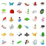 Tourism landmark icons set. Isometric style of 36 tourism landmark vector icons for web isolated on white background - 249881971