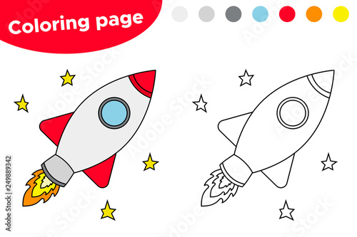 Educational game for preschool kids. Coloring book with spaceship. Vector illustration.