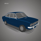 European vintage car vector illustration. Vintage sport car. Retro coupe