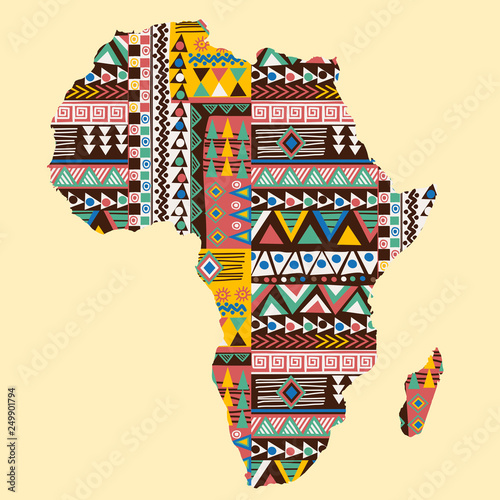 Africa continent map ornate with ethnic pattern