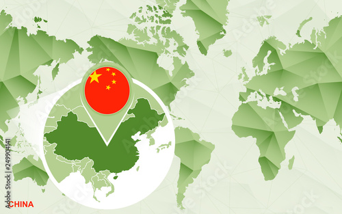 America centric world map with magnified China map.