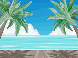 Beach and palm trees, summer time paradise banner.