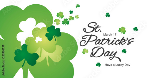 Saint Patricks Day clovers green white landscape background