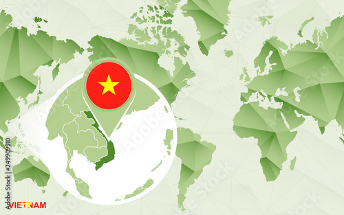 America centric world map with magnified Vietnam map.