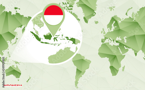 America centric world map with magnified Indonesia map.