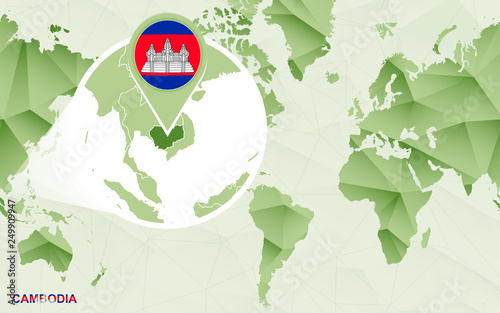 America centric world map with magnified Cambodia map.
