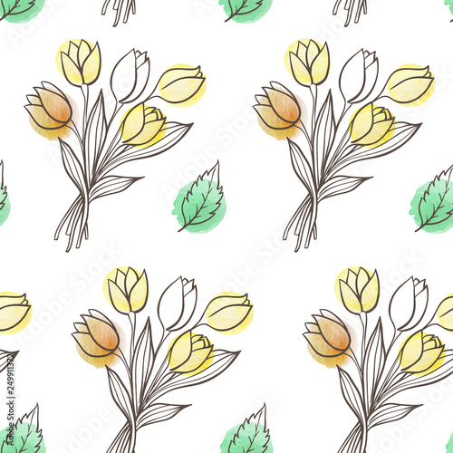 Pattern with leaves and tulip flowers. - 249911372