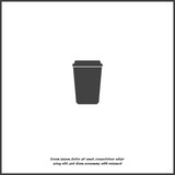 Vector icon disposable cup of coffee. Stale coffee drink in the dishes.