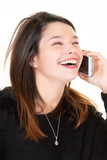Profile of a woman happy smiling laughing calling on phone isolated on white background - 249920928