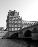 Louvre Paris France black and White