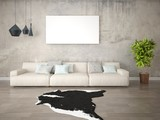 Mock up fashionable living room with a large light sofa and a stylish hipster backdrop.
